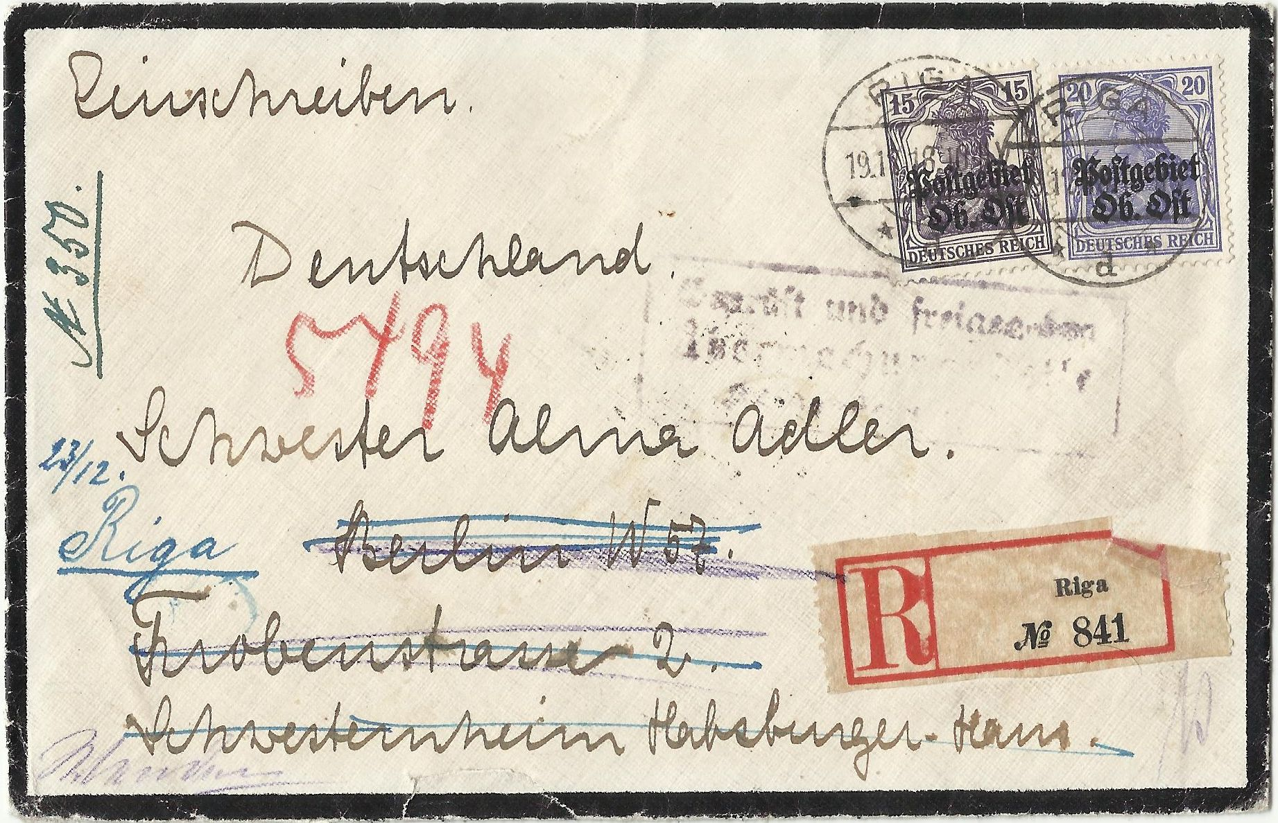 Brief 1918 von Riga nach Berlin