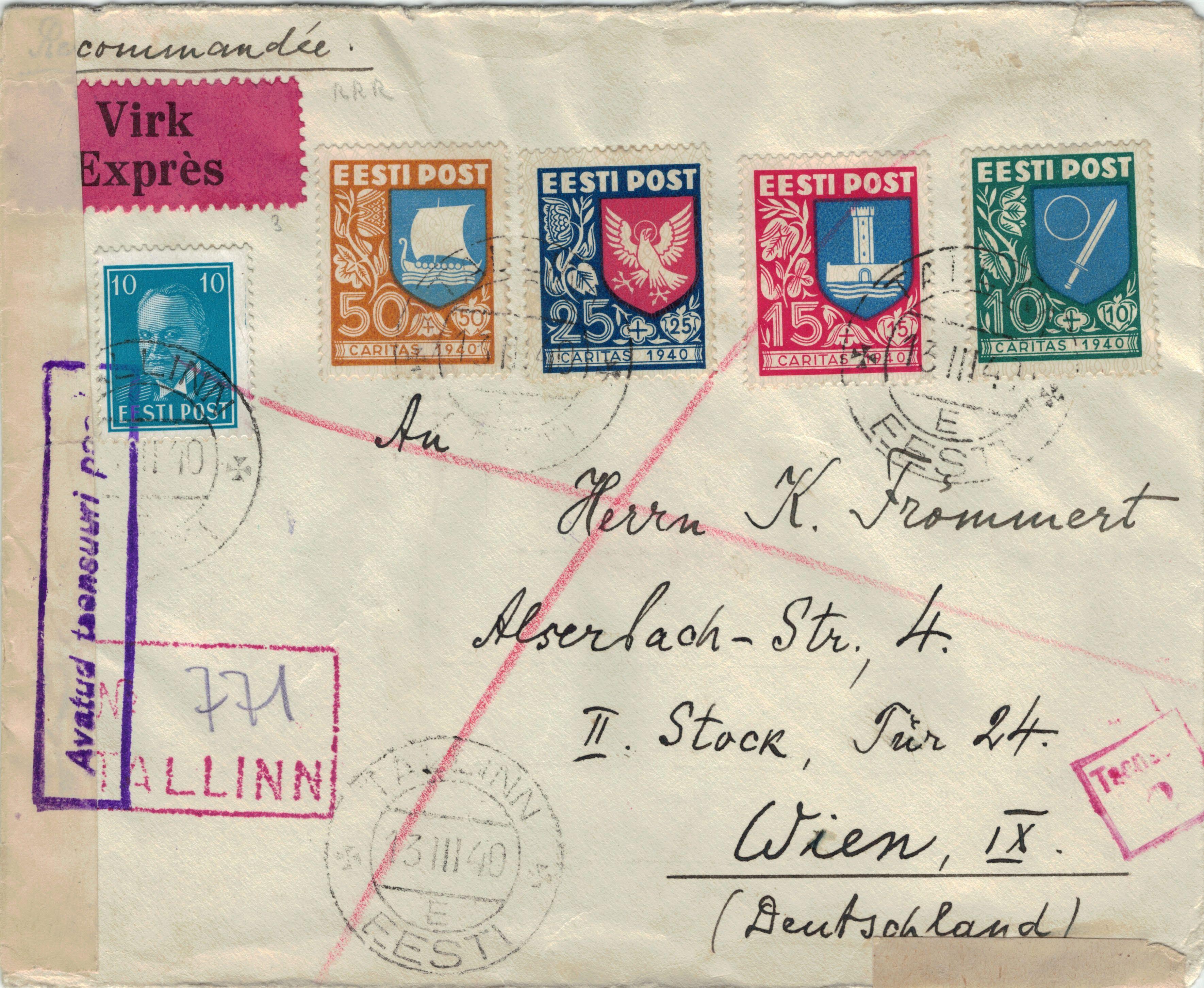 Brief Nach Wien Versenden : Arge baltikum sammelgebiet estland unabhängige